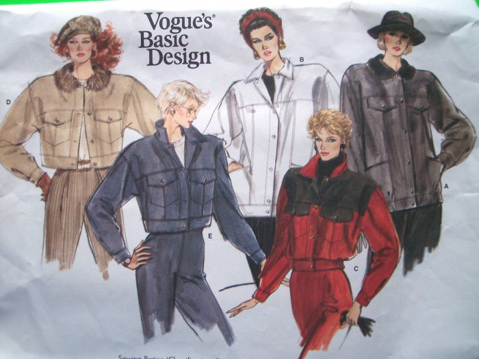 Sew Patterns Sale 80's Vogue Vintage B 32.5 Car Coat Jacket Size 10 # 1968