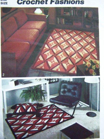 Free USA S&H 1970's Vintage Crochet Rugs Pattern Floor Tassel Trim Pillow Reversible Crocheting 5713