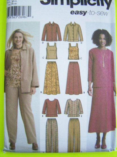 Simplicity Sewing Pattern Sale 5463 Wardrobe Sz 10 12 14 16 18 Pants Skirt Tank Top Jacket Shirt
