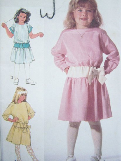 2.00 Girls Vintage Pullover Dress Sewing Pattern Sz 4 5 6 Dropped Waist Cap Kimono Long Sleeves 7245