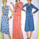 5.00 70s Vintage Sewing Pattern V Neck Dress Wide Band Tie Collar Top B 36 38 40 Flared Skirt 5970