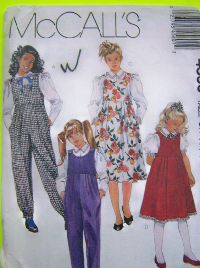 Girls Vintage Sewing Pattern 80's Jumper Dress & Jumpsuit Puff Sleeve Blouse Sz 7 8 10 McCalls 4560