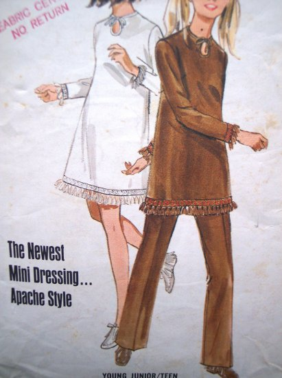70s 6.00 Vintage Dress Mini A Line B 30.5 Wide Leg Pants Junior Teen Apache NDN Sewing Pattern 5145