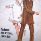 70s 6.00 Vintage Dress Mini A Line B 30.5 Wide Leg Pants Junior Teen Apache NDN Sewing Pattern 5145
