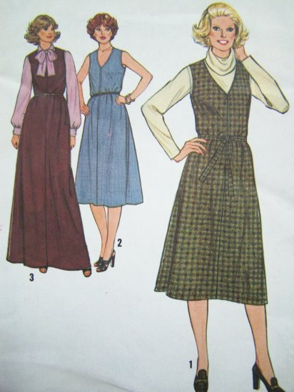 $5 70s Vintage Sewing Pattern Plus Size V Neck Jumper Dress Midi Maxi B 39 Long Sleeve Blouse 8796