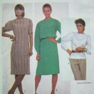 80s Pullover Dress & Top B31.5 Button Shoulder Short & Long Puff Sleeve Vintage Sewing Pattern 7874