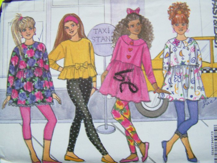 90s Girls Pullover Top Empire Dress Skinny Leggings Sz 12 - 14 Easy Busybodies Sewing Pattern 5817