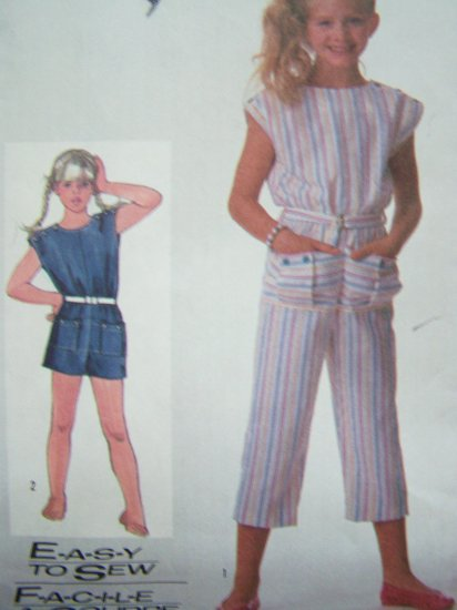 Girls Vintage Sewing Pattern Jumpsuit Tapered Capri Pants & Shorts Sz 8 Romper Shorts 7346