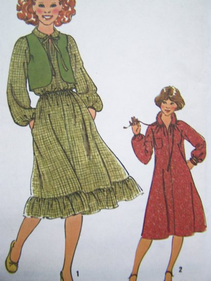 70s Vintage Sewing Pattern Jrs Pullover Peasant Dress Vest Boho Sz 9/10 11/12 Junior Teen 8703