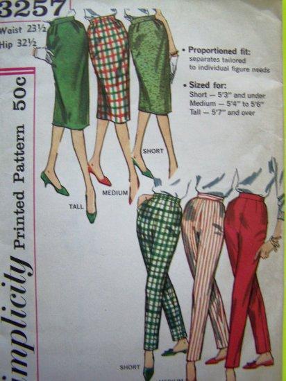 $4.00 50s Vintage Sewing Pattern Misses W 23.5  Slim Wiggle Skirt Skinny Leg Pants Simplicity 3257