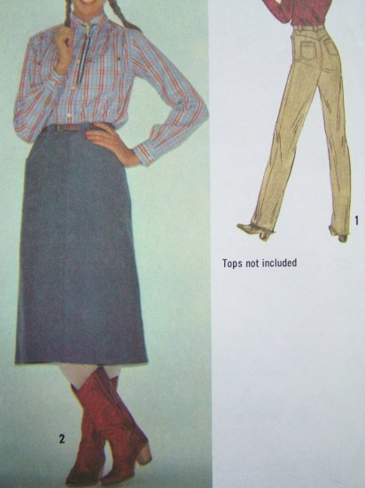 Uncut Vintage Sewing Pattern Fly Front Zipper High Waist Pants & Western Denim Midi Skirt 9102