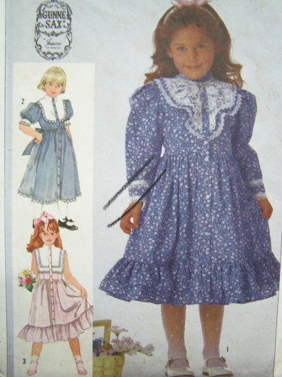 Girls Vintage Sewing Pattern Gunne Sax Prairie Christmas Dress Sz 5 Lace Ruffles Simplicity 7407