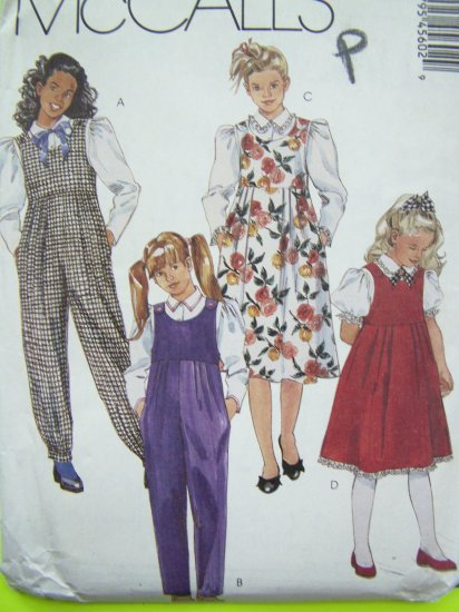 Girls Jumpsuit Jumper Dress Long Short Puffy Sleeve Blouse 10 12 14 Vintage Sewing Pattern 4560
