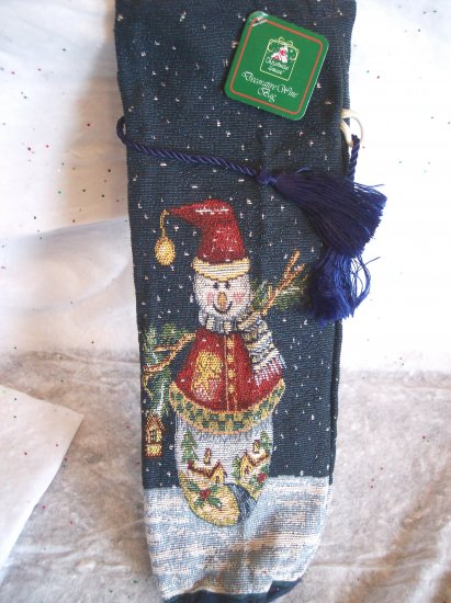 New Snowman Tapestry Fabric Wine Liquor Bottle Christmas Xmas Gift Wrap Wrapping