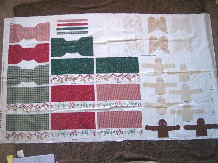 1996 Daisy Kingdom Stuffed Angel Garland Cotton Fabric Christmas Panel DIY Ornaments Bowl Fillers