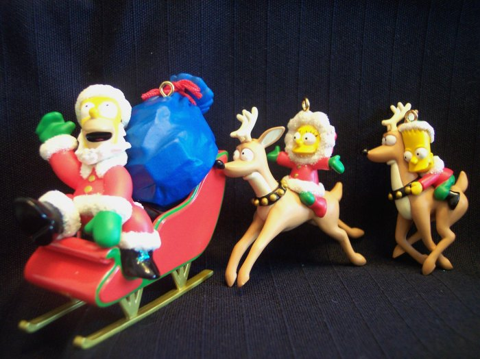 New 3 Simpsons Christmas Tree Heirloom Ornament Set Bart Santa Homer Lisa Reindeer Sled