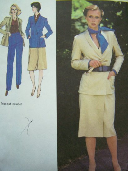 Vintage Sewing Pattern WRAP Skirt Unlined Jacket Fly Front Pants B 34 Size 12 Suit 9275