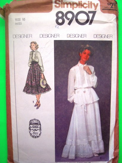 70's Vintage GUNNE SAX Skirt 2pc Peasant Dress Long Sleeve Top B 32 1/2 Designer Sewing Pattern 8907