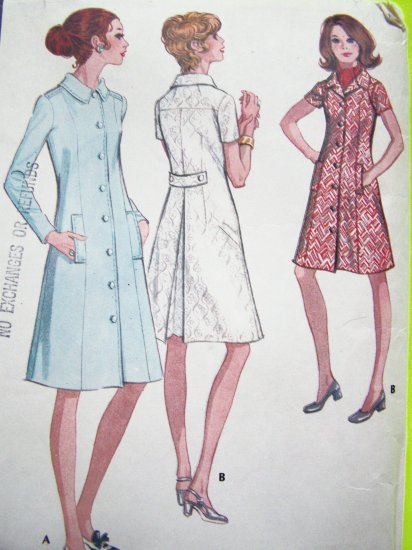 Patterns $5 and Less Sale 70s Vintage Sewing Pattern Dress B 41 Plus Size 18 1/2 # 2688