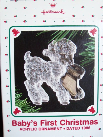Vintage Hallmark 1986 Baby's First Christmas Ornament Acrylic Lamb with Stocking 1st Rare Misprint