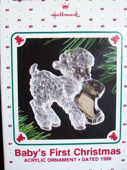 Vintage Hallmark 1986 Baby's First Christmas Ornament Acrylic Lamb with Stocking 1st Rare Misprint