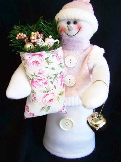 Pink Shabby Roses Snowman Christmas Tree Topper Gold Jingle Bell Chic Shelf Sitter Centerpiece
