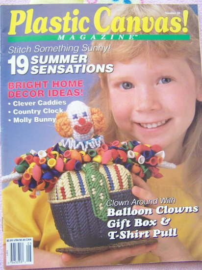Plastic Canvas! Magazine Patterns Back Issue # 20 Summer 1992 Balloon Clown Country Clock