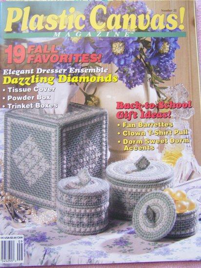 Plastic Canvas Magazine Patterns Back Issue # 22 Fall 1992 Dorm Kitty Bear Shelf Sitters Sewing Box
