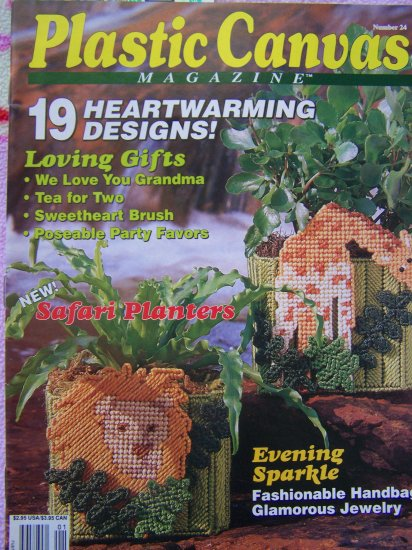 Plastic Canvas Patterns Magazines # 24 Winter 1993 Safari Planters Party Favors Girls Dress UP