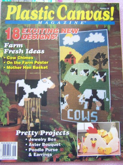 18 Plastic Canvas Magazine Patterns Book # 28 School Memories Asters Bouquet 1993 Mask Cows