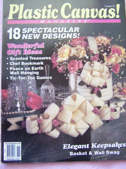 Plastic Canvas Patterns Magazine Book # 29 Vintage 90's Thanksgiving Christmas Potpourri Ornaments