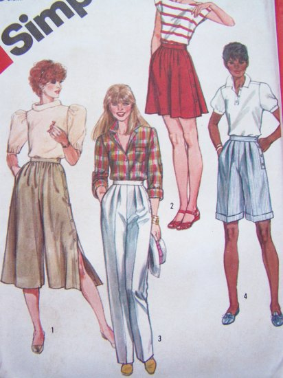 80's Vintage Sewing Pattern Pants & Culottes Two Lengths Side Button Sz 12 14 16 Gauchos S5992