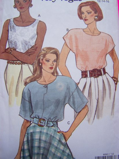 Vogue Sewing Pattern Blouse Summer 12 14 16 Shirt 8062