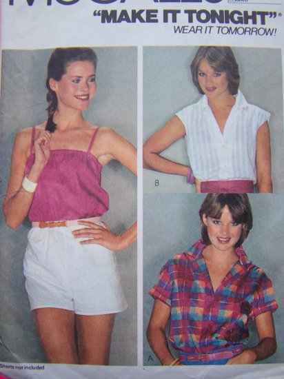 Vintage Sewing Pattern Misses Summer Shirt & Pullover Camisole Strapless or Straps Small 7046