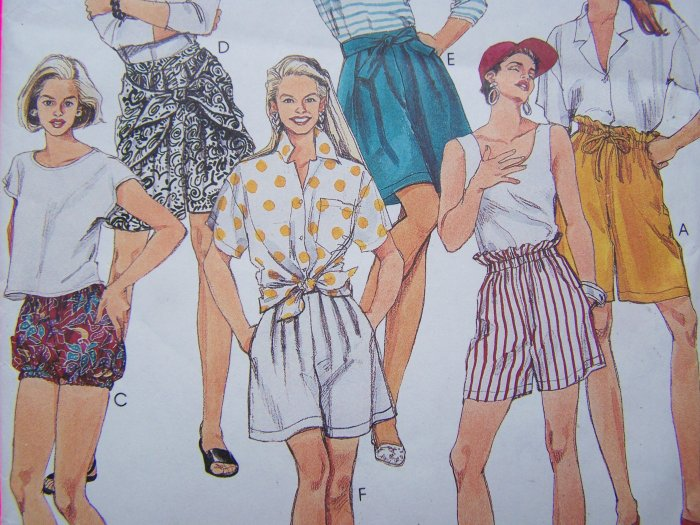 Easy McCall's Sewing Pattern High Waist Shorts Bloomers Drape Front 10 12 14 # 5457