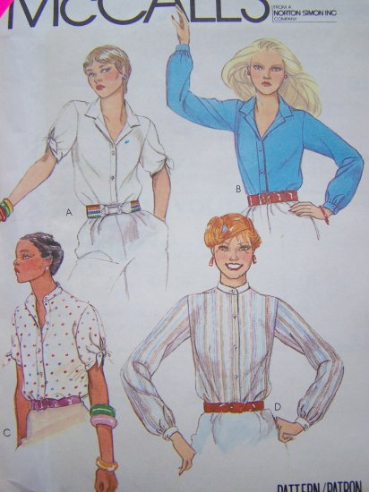 80's Vintage Sewing Pattern Blouse Notched or Mandarin Collar Short Tie or Long Sleeves Shirt 6955