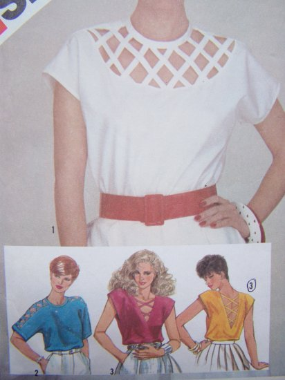 80's Vintage Sewing Pattern Lattice Pullover Shirt Kimono & Cap Sleeves Blouse Sz 8 Top # 6016