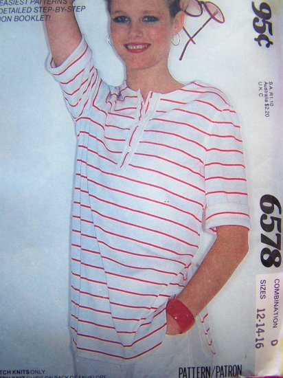 Sale $2 Vintage Sewing Pattern Misses 16 Pullover T Shirt Button Front Band Side Vents Short Sleeve