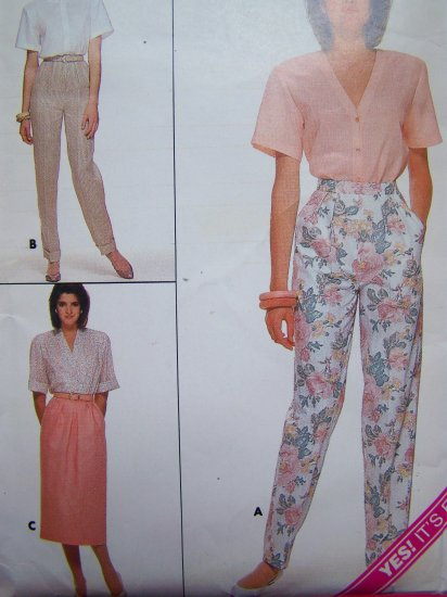 80's Vintage Sewing Pattern Straight Skirt High Waisted Tapered Pants Sz 14 16 18 # 3694