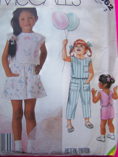 Sale Vintage Girls 2T Sewing Pattern V Button Back Shirt Pants Shorts Culotte Easy McCall's # 2362