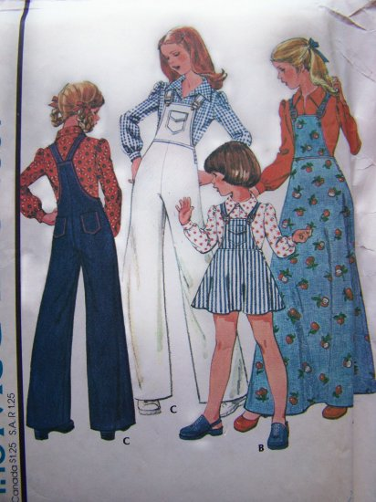 70's Vintage Girls 12 Sewing Pattern Wide Leg Bib Overalls & Jumper Dress Blouse 4857