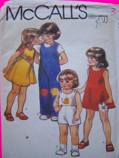 $3 SALE Children's 3T Vintage Sewing Pattern Jumper Dress Shorts & Pants Jumpsuit Onesie Romper 6936