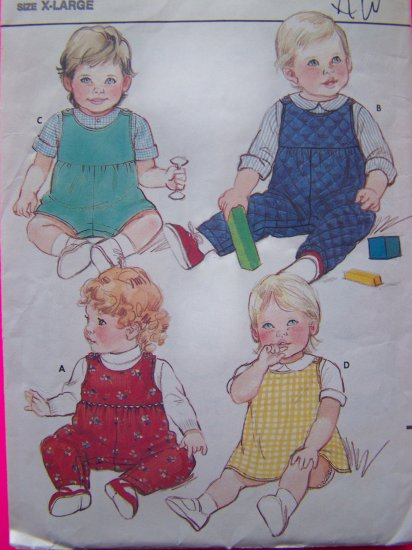 $4  Infant XL Vintage Sewing Pattern A Line Back Wrap Dress Boys Girls Jumpsuit 6323