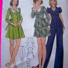 1970's Hippie Tie Back Dress Shirt Mini Skirt Jr Teen 13/14 Vintage Sewing Pattern 3015