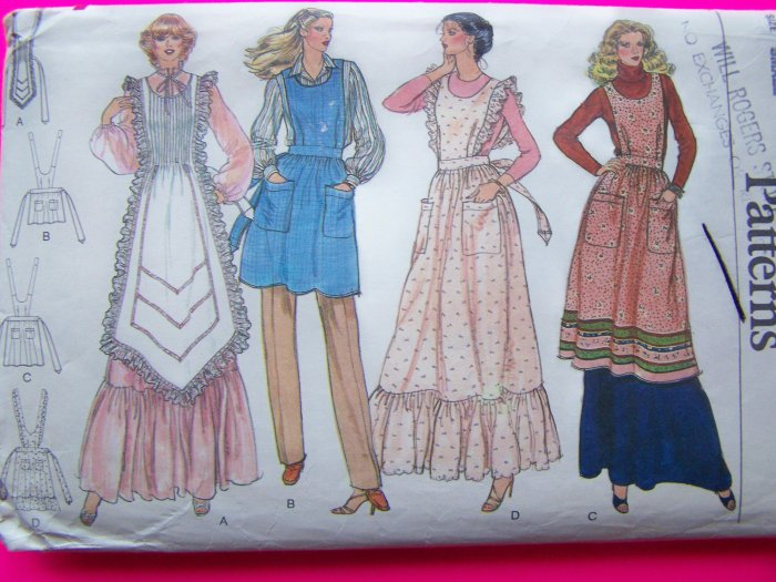 Vintage Vogue Sewing Pattern Apron Pinafore Hippie Dress Small 7256