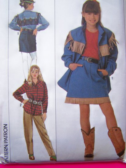 Vintage Girls 7 8 10 12 14 Western Cowboy Shirt Jacket Tapered Pants Skirt Sewing  Pattern 9463