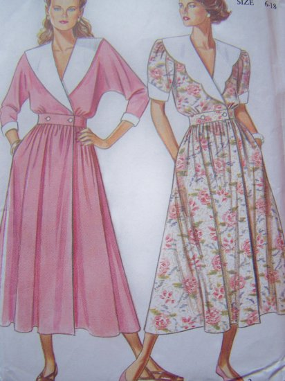 Misses 6 8 10 12 14 16 18 Sailor Collar Dress Wrap Button Waist Vintage Sewing Pattern 6531