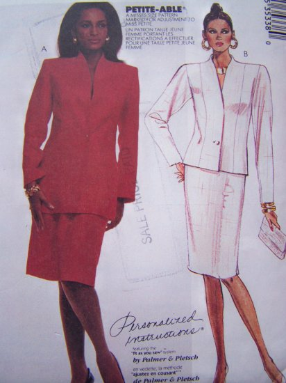 Plus Size Vintage Sewing Pattern Straight Skirt Lined Jacket Sz 20 Petite Able McCall's 3533