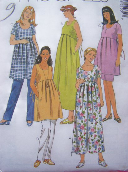Maternity Tie Back Dress Top Sundress Pull on Pants Skirt Sewing Pattern Sz 6 8 10 # 2103