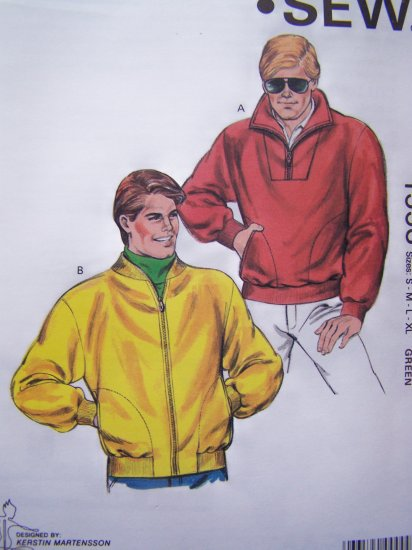 Men's Vintage Jacket Sewing Pattern S M L XL Pullover or Zip Up Sweatshirt or Polar Fleece 1553